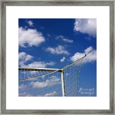 Soccer Goal Net Against Cloudy Sky Framed Print