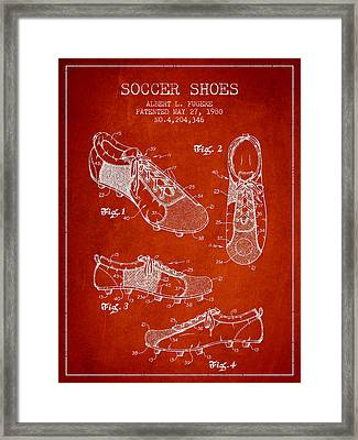 Soccershoe Patent From 1980 Framed Print by Aged Pixel