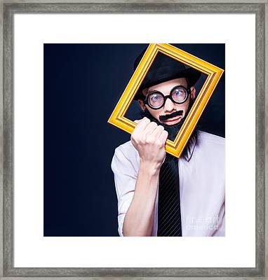 Social Media Man Resizing His Profile Picture Framed Print