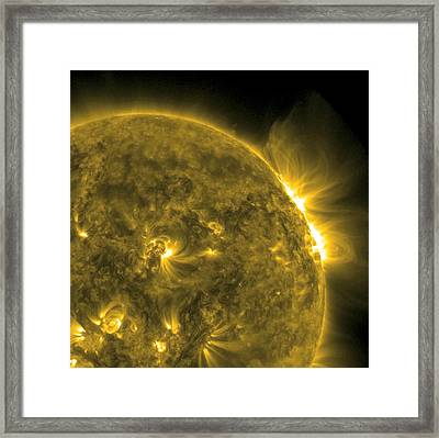 Solar Flare, Sdo Ultraviolet Image Framed Print by Science Photo Library