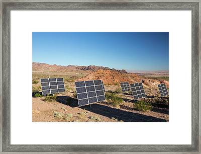 Solar Panels Next To A Church Framed Print by Ashley Cooper