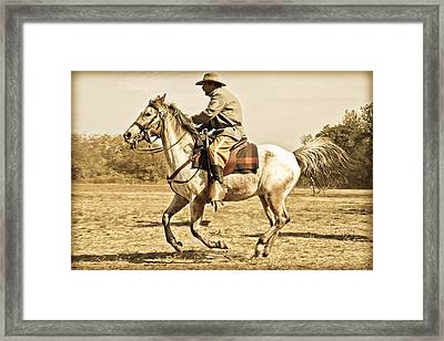 Soldier Engaging In Battle Framed Print