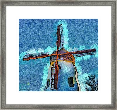 Solvang California Windmill Abstract Framed Print