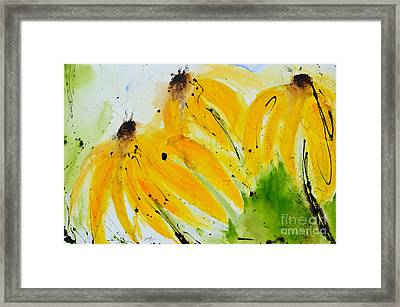 Framed Print featuring the painting Sonnenhut -  Floral Painting  by Ismeta Gruenwald