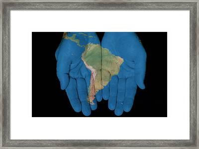 South America In Our Hands Framed Print