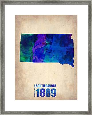 South Carolina Watercolor Map Framed Print by Naxart Studio