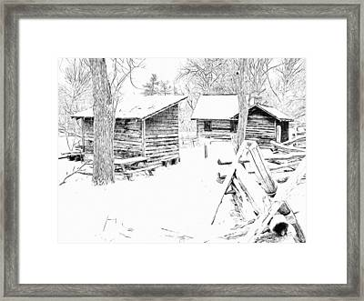 Oliver Miller Homestead / Outbuildings In The Snow Framed Print
