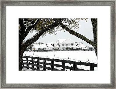Southfork Ranch In Winter Framed Print by Dyle   Warren