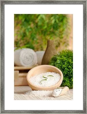 Spa Setting With Bath Salt Framed Print by Mythja  Photography