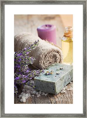 Spa With Lavender And Towel Framed Print by Mythja  Photography