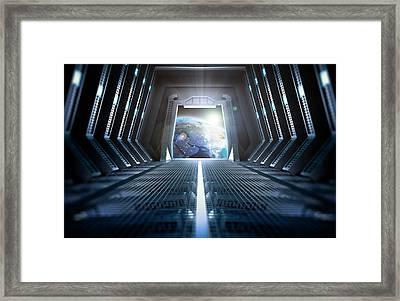 Space Station Interior Framed Print by Andrzej Wojcicki