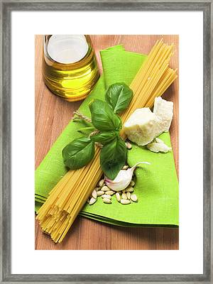 Spaghetti And Pesto Ingredients Framed Print