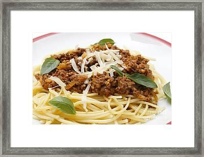 Spaghetti Bolognese Close-up Framed Print by Paul Cowan