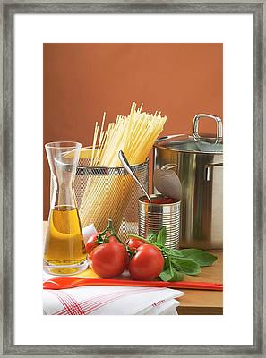 Spaghetti, Tomatoes, Oil And Pan Framed Print