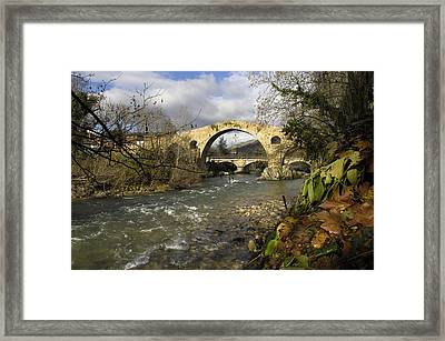 Spain. Cangas De On�s. Medieval Bridge Framed Print