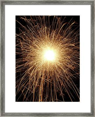 Sparkler And Sparks Framed Print by Science Photo Library
