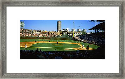 Spectators In A Stadium, Wrigley Field Framed Print by Panoramic Images