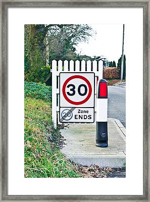 Speed Limit Framed Print by Tom Gowanlock