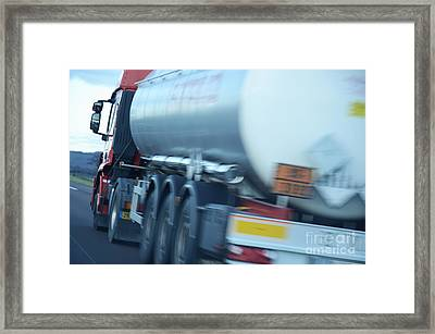 Speeding Truck On Highway Framed Print by Sami Sarkis