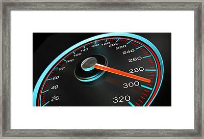 Speedometer Fast Speed Framed Print by Allan Swart