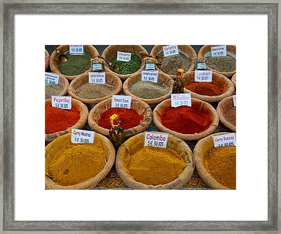 Spices For Sale In A Weekly Market Framed Print