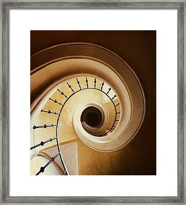 Spiral Staircase In Browns Framed Print by Jaroslaw Blaminsky