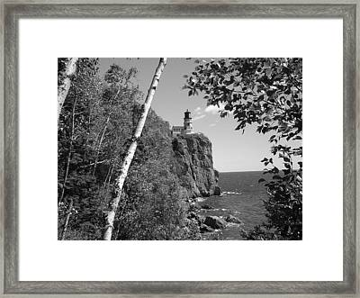 Split Rock Black And White Framed Print