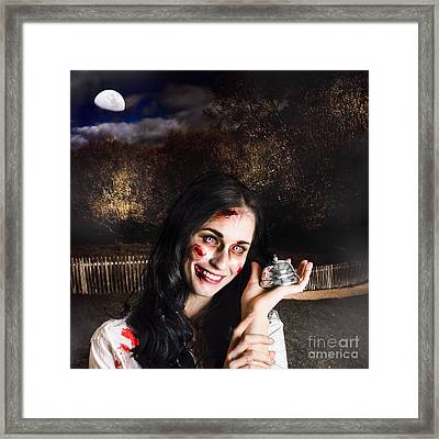 Spooky Girl With Silver Service Bell In Graveyard Framed Print