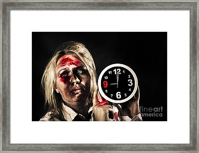 Spooky Monster With Alarm Clock. Belated Departure Framed Print