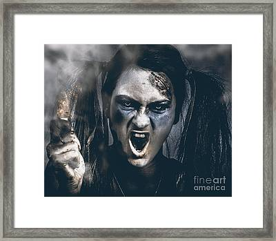 Spooky Portrait Of Dead School Girl Giving Finger Framed Print by Jorgo Photography - Wall Art Gallery