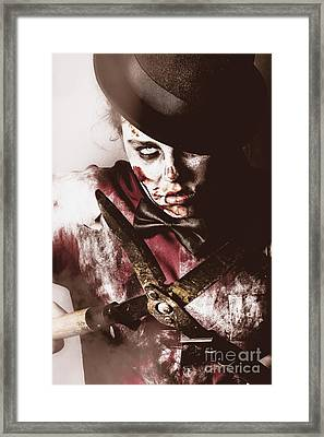 Spooky Undead Zombie Gardener. Midnight Pruning Framed Print
