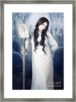 Spooky Witch Gravedigger With Spade In Graveyard Framed Print