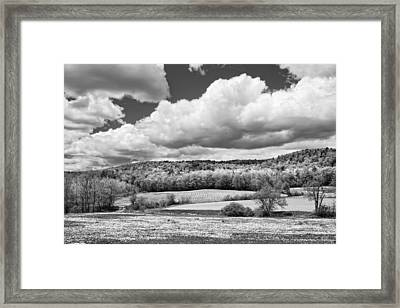 Spring Farm Landscape With Dandelions In Maine Framed Print by Keith Webber Jr