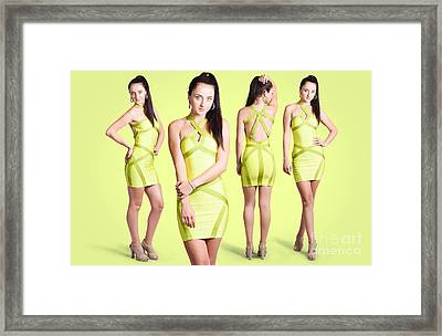 Spring Fashion. Young Girl In Retro Green Dress Framed Print by Jorgo Photography - Wall Art Gallery