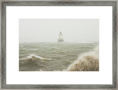 Spring Point Ledge Lighthouse In Storm In Portland Maine Framed Print