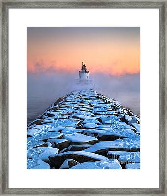 Spring Point Ledge Sea Smoke Framed Print by Benjamin Williamson