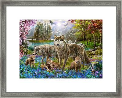 Spring Wolf Family Framed Print