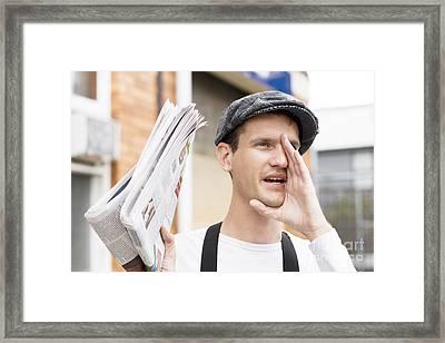 Spruiking Newspaper Boy Framed Print by Jorgo Photography - Wall Art Gallery