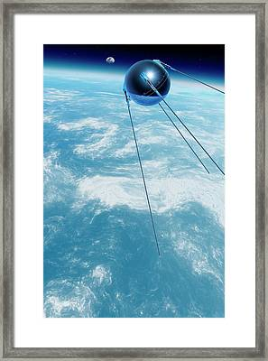 Sputnik 1 In Orbit Framed Print by Detlev Van Ravenswaay