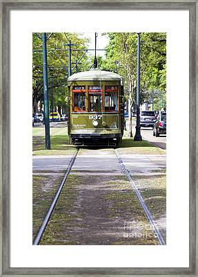 St Charles Avenue Trolley Train Rolling Through The Garden Distr Framed Print by ELITE IMAGE photography By Chad McDermott