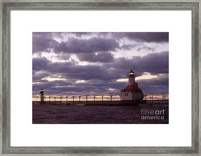 St. Joseph North Pier Lights, Mi Framed Print by Bruce Roberts