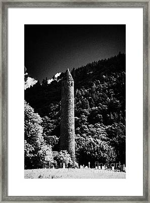 St Kevins Round Tower And Graveyard At Glendalough Monastic Site County Wicklow Ireland Framed Print