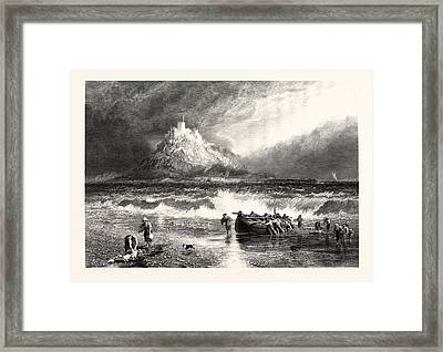 St. Michaels Mount, Cornwall, Uk, Britain Framed Print by English School