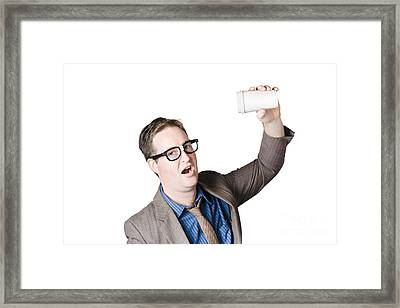 Staff Member Swigging Coffee Beverage. Quick Drink Framed Print by Jorgo Photography - Wall Art Gallery