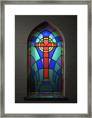 Stained Glass Window Crucifix Framed Print by Allan Swart