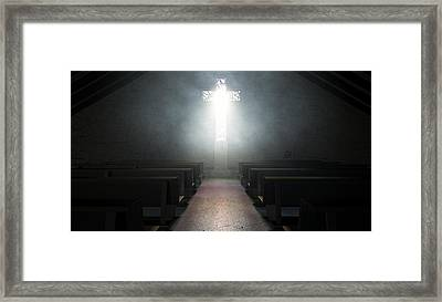 Stained Glass Window Crucifix Church Framed Print by Allan Swart
