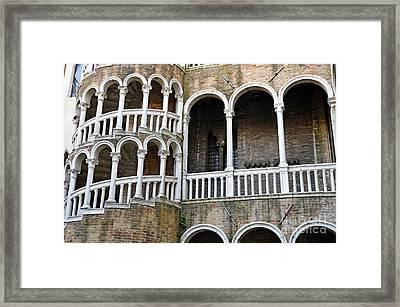Staircase At Palazzo Contarini Del Bovolo Framed Print by Sami Sarkis