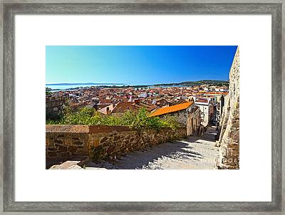 stairway and ancient walls in Carloforte Framed Print