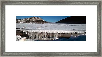 Stalactite Of Frozen Water In A Trough Framed Print