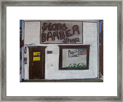 Stans Barber Shop Menominee Framed Print